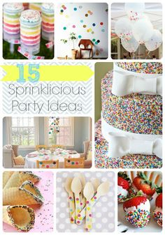 "These 15 fun ideas will add an extra ""sprinkle"" to any party no matter the occasion.    So creative and creative! A great way to color up a room and make everyone smile! This is a cute brunch jewelry bar idea! Book today! email me at charming.layah@gmail.com"