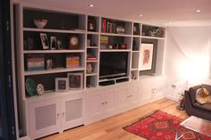 Fitted Wardrobes and other Built-in furniture best in London. We specialised in Fitted Bedrooms, Alcove Cupboards, bookshelves and other Fitted Furniture Tv Shelving, Minimalist Bookcase, Minimalist Living Room, Bookcase, Built In Furniture, Built In Wall Units, Small Apartment Decorating, Built In Bookcase, Small Apartments