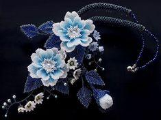 Auffällige Fluss hellblau Blumengarten Volumen Perlenkette