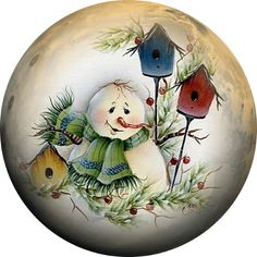 22 Charming Outdoor Christmas Tree Decorations You Must Try this Year - The Trending House Christmas Scenes, Christmas Pictures, Christmas Art, Vintage Christmas, Xmas, Christmas Drawing, Christmas Paintings, Outdoor Christmas Tree Decorations, Painted Christmas Ornaments