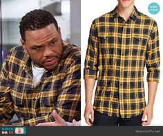 0fa1bb2283 Andre s yellow plaid shirt on Black-ish. Outfit Details  https