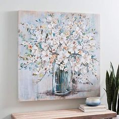 Add a bright pop to your walls with this White and Blue Soft Floral Canvas Art Print. Its gel accents and botanical design will fit in your wall decor. Beach Canvas Art, Abstract Canvas Art, Canvas Art Prints, Framed Art Prints, Canvas Wall Art, Blue Framed Art, Kirkland Home Decor, Wedding Picture Frames, Floral Wall Art