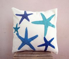 Blue nautical throw pillow starfish in tones of blue by EarthLab, $46.00