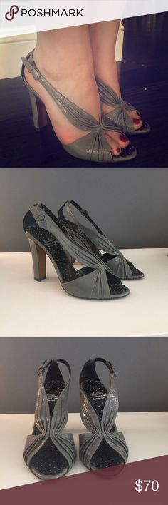 Moschino Cheap & Chic - Grey patent leather heels Super chic grey patent leather heels from Moschino Cheap & Chic. This is the perfect summer to fall transitional heel. Heel measures 4 inches. Shoes worn once and in excellent condition. Grey patent leather. Moschino Shoes Heels