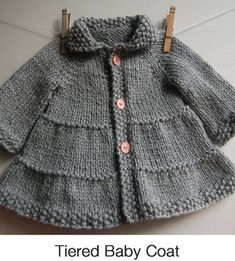 Oct 2019 - Tiered Baby Coat — Frogginette Knitting Patterns Baby Boy Sweater, Knit Baby Sweaters, Baby Coat, Baby Knits, Knitted Coat Pattern, Knit Vest Pattern, Free Baby Sweater Knitting Patterns, Free Childrens Knitting Patterns, Knit Baby Dress