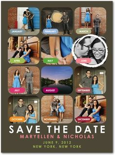 Signature White Photo Save the Date Cards Our Month - Front : Ash