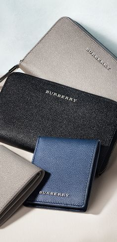 A selection of leather wallets in signature London leather from the Burberry S/S14 accessories collection