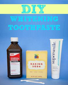 Mix baking soda, toothpaste, and hydrogen peroxide together to make a teeth whitening paste, and then apply it with a cotton swab.