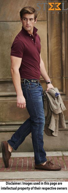 Don't you think this #look can steal the show ?  Red wine colured #polo t-shirt paired with blue #denim & #earth tan #loafers  #gentleman #clothing #dapper