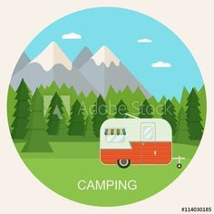 Forest camping landscape with trailer. Summer camp place with camper caravan vector flat illustration.