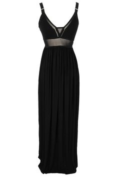Black Mesh Insert Maxi Dress