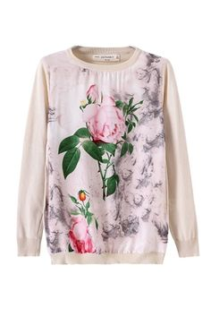 Leaves and Flower Print Sweater [FKBJ10215] - PersunMall.com