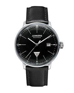 Junkers Bauhaus Ronda515 60702 - Reloj analógico de cuarzo para hombre, correa de cuero color negro