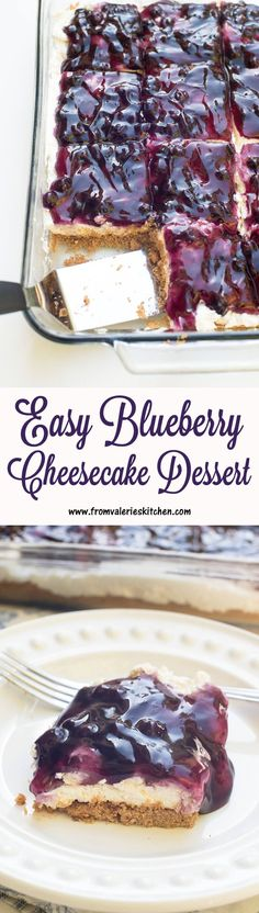 This Easy Blueberry Cheesecake Dessert with a light and creamy nobake cheesecake layer is a fabulous makeahead dessert choice for any time of year! is part of Cheesecake desserts - Dessert Oreo, Bon Dessert, Low Carb Dessert, Cheesecake Desserts, Dessert Bars, No Bake Blueberry Cheesecake, Easy No Bake Cheesecake, No Bake Cheescake, Blueberry Cream Cheese Pie