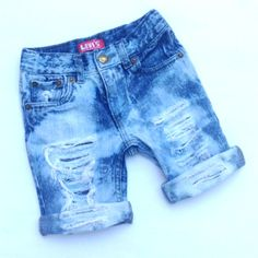 Custom Made Cutoff Shorts Levi's Handmade Distressed Destroyed Denim Jeans Baby Toddler Kids Fashion Swag Hipster