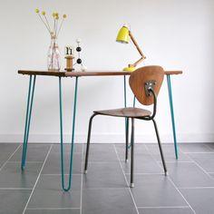 IROKO TEAK HAIRPIN LEGS VINTAGE INDUSTRIAL MID CENTURY DESK TABLE EAMES ERA 60s
