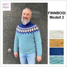Skjønn tykk utegenser i blått og svart med dråpeformet mønster, strikket i Alafosslopi.  Denne flotte genseren er designet kun for salg hos Garnmani.no og i strikkeboken Strikkesaga. Oppskriften følger med i garnpakken.  Oppskriften kommer i størrelsene S, M, L, XL, 2XL, 3XL og 4XL. Overvidde: 89, 98, 105, 111, 117, 123, 129 cm Lengde til ermhull: 40, 40, 42, 43, 44, 45, 46 cm Ermlengde Herre: 47, 47, 48, 50, 51, 52, 53 cm Ermlengde Dame: 45, 45, 46, 47, 48, 49, 50 cm  GARNFORBRUK: 1232… Pullover, Sweaters, Design, Fashion, Threading, Model, Moda, La Mode, Sweater
