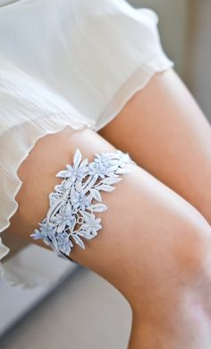 Powder blue lace bridal garter