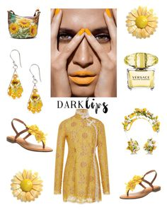 """""""Yellow Dark Lips"""" by im-karla-with-a-k ❤ liked on Polyvore featuring Alessandra Rich, Anuschka and Nicole"""