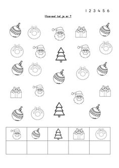 Brojevi do 6 Preschool Writing, Preschool Learning Activities, Preschool Worksheets, Preschool Activities, Kids Learning, Math Literacy, Christmas Doodles, Christmas Math, Christmas Activities