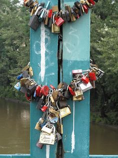 Love padlocks (also known as love locks and, in Taiwan, wish locks) are a custom by which padlocks are affixed to a fence, gate, bridge or similar public fixture by sweethearts at an increasing number of locations in the world to symbolize their everlasting love