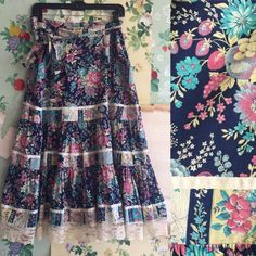 Vintage 1970s Floral and Lace Prairie Skirt. by CopperhiveVintage