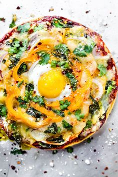 A breakfast pizza re
