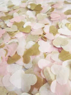 Biodegradable Handmade Light Pink   White   Gold Tissue Paper Heart Confetti Wedding Party