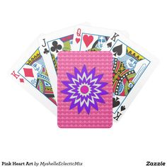 Pink Heart Art Bicycle Playing Cards A modern design with a seamless background of tiny pink hearts. Front is a graphic Daisy flower