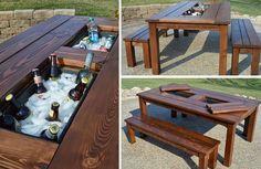 Te mostramos cómo hacer una hermosa mesa de jardín que además sirve para mantener frías tus bebidas