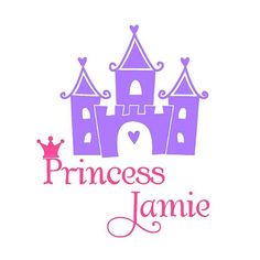 Personalized Castle and princess girl vinyl wall decal