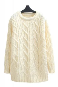 So Gorgeous! Love the Knitted 'Branches'  ... It reminds me of Trees in Winter! Winter White Round Neck Long Sleeve Pullover Sweater #Winter #White #Branches #Knit #Sweater #Fashion