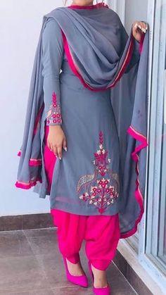 RadhikAnurag ❤️ Patiala Suit Designs, Salwar Designs, Kurta Designs Women, Kurti Designs Party Wear, Blouse Designs, Embroidery Suits Punjabi, Embroidery Suits Design, Embroidery Fashion, Punjabi Suits Designer Boutique