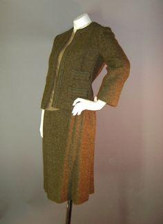 1960s vintage sweater suit set 60s OLIVE BROWN by capricornvintage