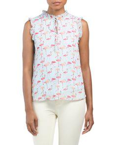 Juniors Flamingo Print Top