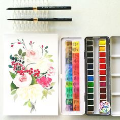 #calligrafikas #grafikaflora #botanicalwatercolor Paper: Canson 200gsm Paint: Sennelier watercolors Brush: Silver Brush Black Velvet Voyage Round no 6 & 8