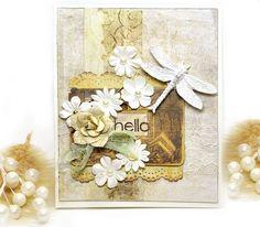 Prima Dragonfly Card - Scrapbook.com - Pretty multi- textured card!