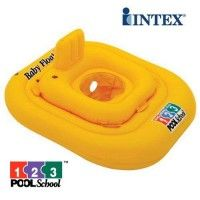 """Perfect for introducing your baby to the Swimming Pool. This Float allows the baby to sit in the middle, with their legs in the water, and their body supported by the inflatable rings. The Float also has a built in head rest. Product Specification: Two air chambers with double-valves Nappy style seat with smooth leg holes Large outer ring for stability Size: 79cm (31"""") Weight capacity: 33lbs / 15kg Recommended Age - 1-2 Years  www.kidswoodentoyshop.co.uk"""