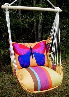 Cafe Soleil Yellow Butterfly Hammock Chair Swing Set