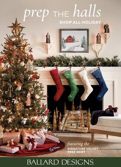 Prep the halls with holiday decor the whole family (and Santa) will love. Shop Christmas stockings, Christmas trees, Christmas decorations, and more at Ballard Designs. #HolidayDecor2020 #ChristmasDecoration