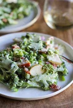 Shaved Broccoli-Apple Salad with Bacon and Creamy Dijon Dressing