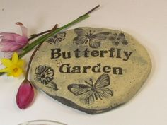 Butterfly Garden sign  Garden stone plaque engraved by Poemstones, $30.00 Garden Plaques, Garden Signs, Butterfly Plants, Butterflies, Unique Gifts, Great Gifts, Vintage Fonts, Outdoor Signs, Beautiful Gardens
