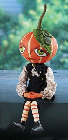 Garfunkel Pumpkin Boy Fabric Shelf Sitter Doll