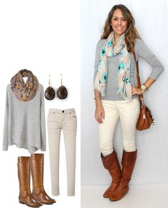 Love how the turquoise in the scarf plays up the light gray and beige colors in the outfit. Makes it more happier :)