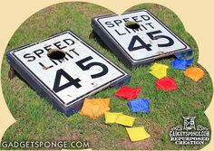 I finally found a way to repurposed these old speed limit signs! Now they are way cool cornhole bean bag toss game boards! After cutting the holes, I framed… Game Boards, Board Games, Speed Limit Signs, Crafts To Make, Diy Crafts, Recycled Crafts, Metal Crafts, Bag Toss Game, Corn Hole Game