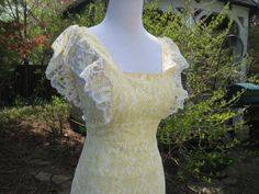 Yellow lace dress long dress wedding gown prom by EndlesslyVintage, $59.00