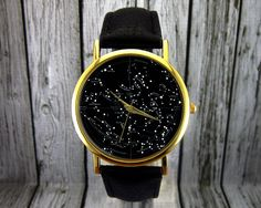 Vintage Constellation Watch | Leather Watch | Ladies Watch | Mens Watch | Gift Idea | Custom Watch | Fashion Accessory | Northern Hemisphere by RedJuanShop on Etsy https://www.etsy.com/listing/223881402/vintage-constellation-watch-leather
