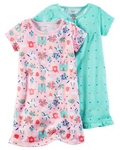 Kid Girl 2-Pack Sleep Gowns from Carters.com. Shop clothing & accessories from a trusted name in kids, toddlers, and baby clothes.