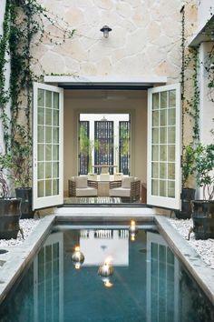 Courtyard Pool by Troy Rhone Garden Design...