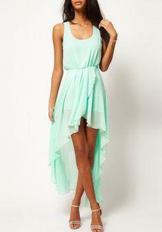 Light Green Plain Irregular Swallowtail Sleeveless Chiffon Dress